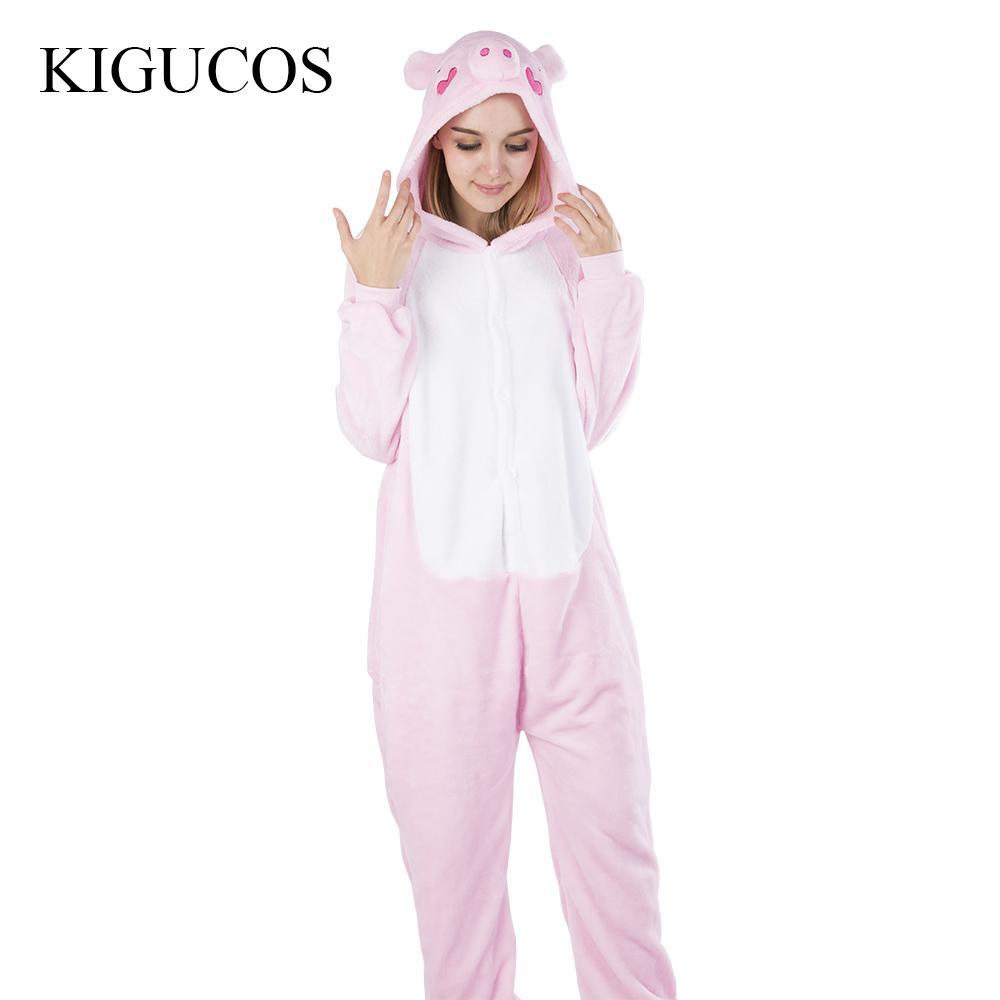 6ca44d859f5d0a KIGUCOS One Piece Porco Animal Pijama Mulheres Trajes de Inverno Rosa  Homens Negros Sleepwear Pijama Dos Desenhos Animados