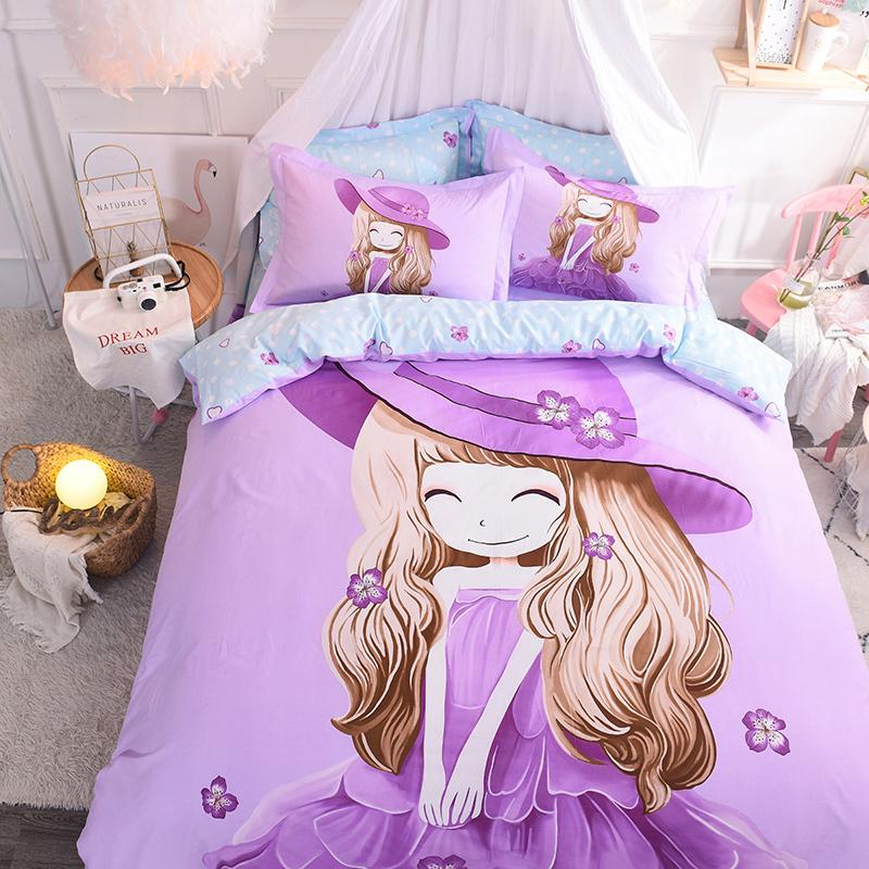 Purple pink green girls cute Beddings set king queen twin size bed set 100%cotton Bedsheets linen duvet cover set pillowcase