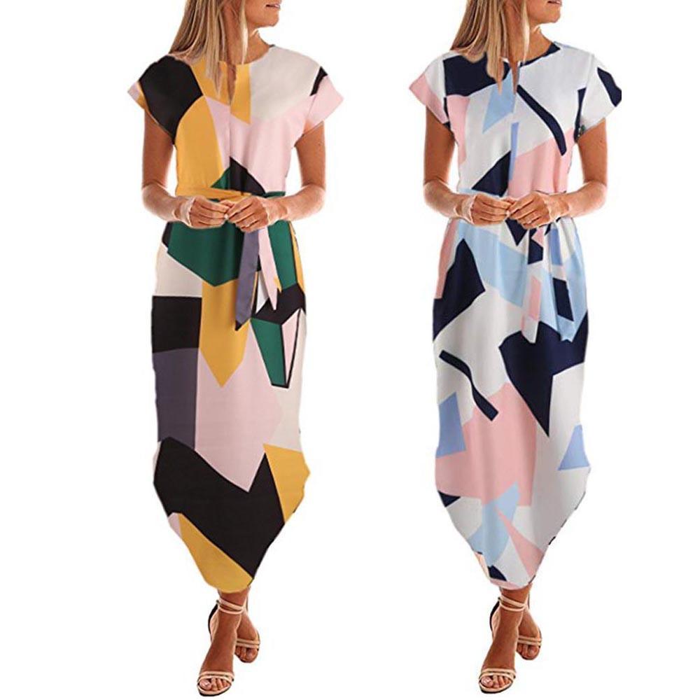 newest collection 72322 10bef Vestito lungo da donna estate 2018 Vestito da mezza manica elegante con  stampa geometrica elegante Vestito longuette vintage con cintura  Abbigliamento ...