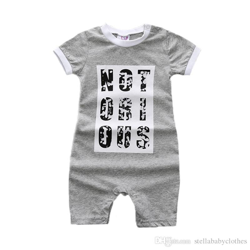 6750cb5bd26 2019 Newborn Summer Toddler Infant Baby Boy Girl Unisex Rompers Cotton  Letter Printed Baby Clothes Baby Wear Jumpsuits Casual Cute Clothing From  ...