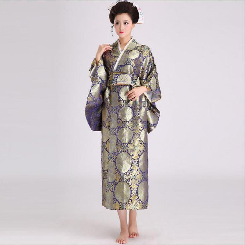 e8ad4e8037cc Acquista Novità Kimono Giapponese Abito Da Sera Donne Sexy In Raso Yukata  Con Obi Performance Dance Dress Cosplay Costume One Size B 017 A  47.45 Dal  Duanhu ...