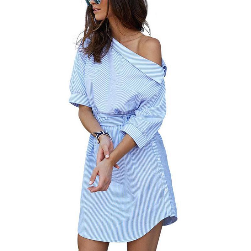 cd6e6b23c8e Compre Moda Un Hombro Azul Rayas Camisa De Vestir De Las Mujeres Sexy  División Lateral Elegante Media Manga Cintura OL Niñas Vestidos De Playa A   22.42 Del ...