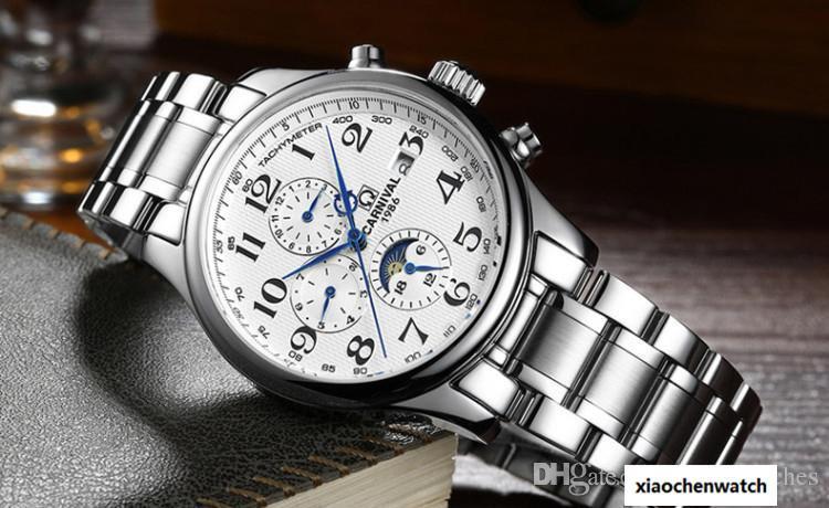 6c0a633a7b73 Compre TOP Marca CARNIVAL Azul Mano Multifunción Automático Mecánico  Hombres Reloj Marca De Lujo Superior Reloj De Negocios De Acero Inoxidable  Hombre ...