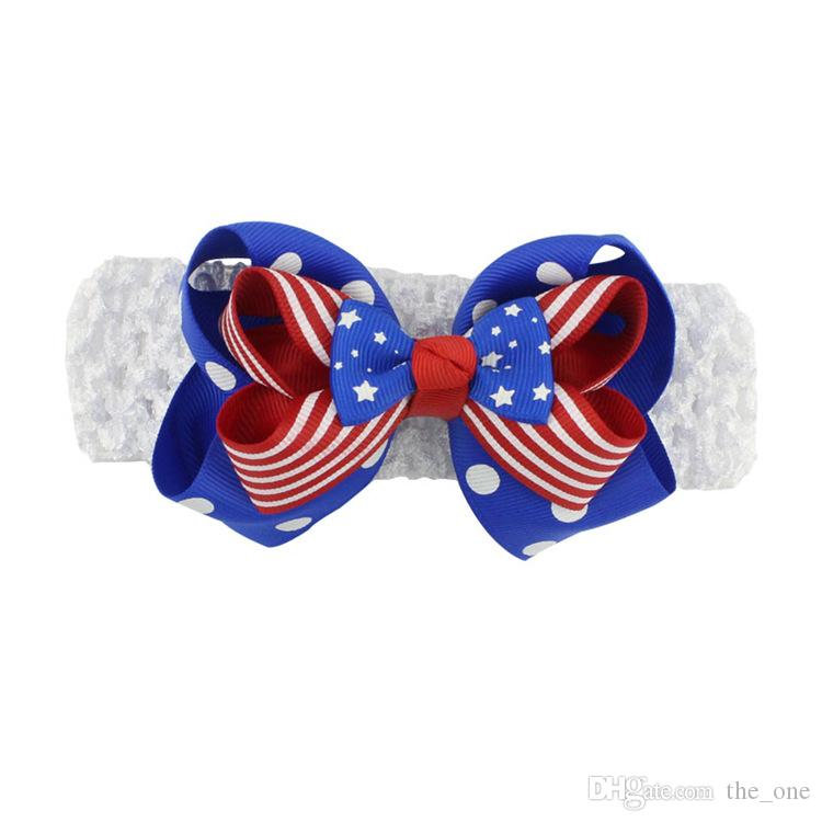 Baby Girls Hair Bows Cotton Elastic Headband Three Layers Bow Knot Hair Accessories for Girls Independence Day Stars Red Striped Headbands
