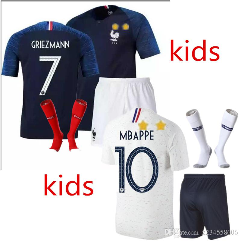 2018 Frances World Cup Pogba Soccer Jersey Home BLUE 18 19 PAYET DEMBELE  MBAPPE GRIEZMANN KANTE National Team Football Shirts COMAN AWAY Whi Soccer  Jersey ... 0575ea403