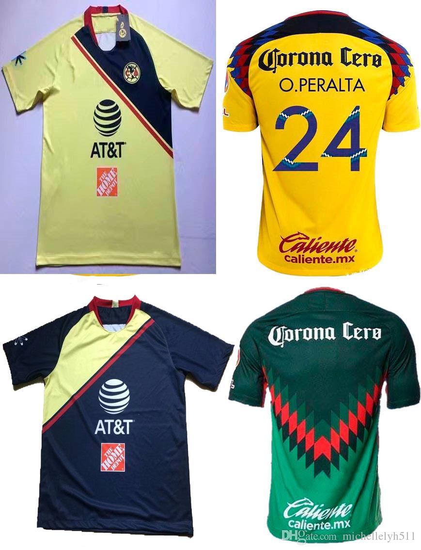 2019 18 19 LIGA MX Club America Soccer Jerseys Maillot De Foot 2018 19  P.AGUILAR C.DOMINGUEZ O.Peralta C.DOMINGUEZ Football Shirts Soccer Uniform  From ... b715dbc1c