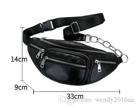 2018 New PU Women Men Casual Sport Chain Waist Bag Black Zipper Fanny packs Chest Bag Crossbody bags