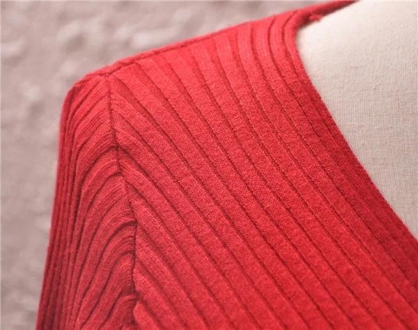 i sexy donne con scollo a V pacchetto hip donne maglione lungo manica lunga vestito 2018 inverno maglia donne pullover maglioni