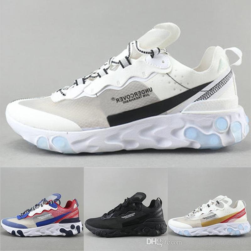 a482e9ae153b4 2019 Epic React Element 87 Undercover Mens Designer Running Shoes Black  White Gold Breathable Mesh Men Women Casual Sports Sneakers Size 36 45 From  ...
