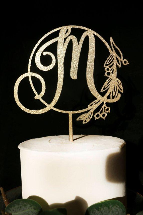 2019 Custom Wreath Monogram Wedding Cake Topper Persoanalized