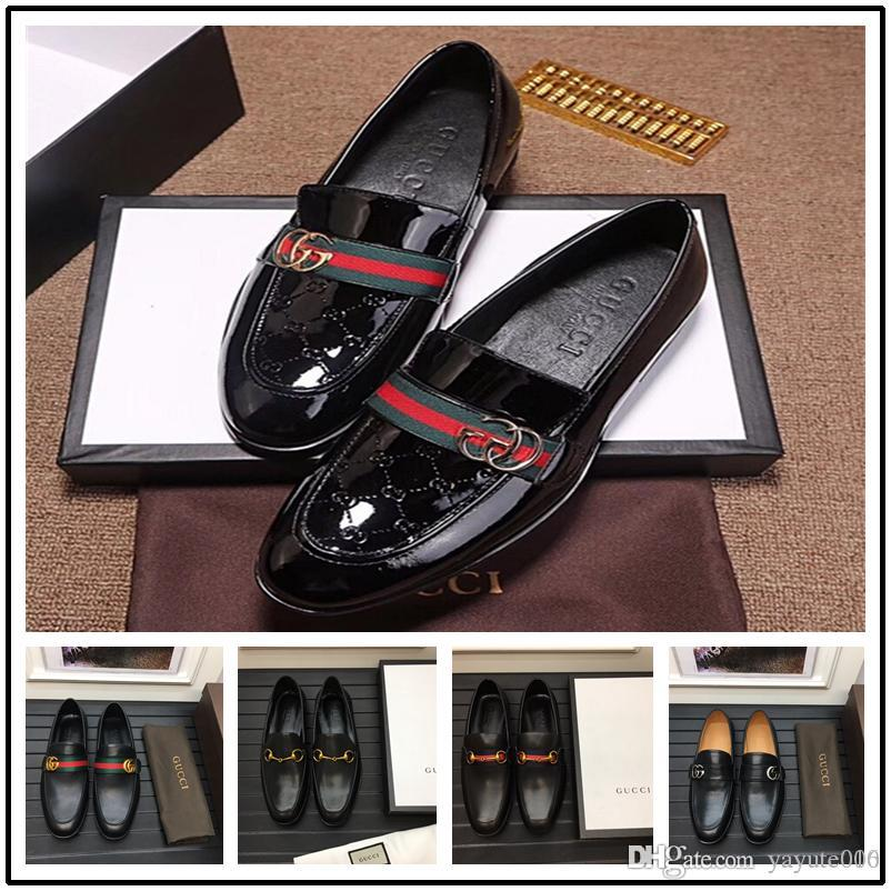 18ss New to black TOP leather men's wedding shoes rivet business casual pointed leatherT trendy leather casual shoes rivet flats