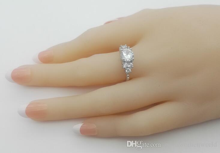 Fast service provide 2.5 CT SONA synthetic diamond engagement ring sterling silver white gold Plated wedding ring