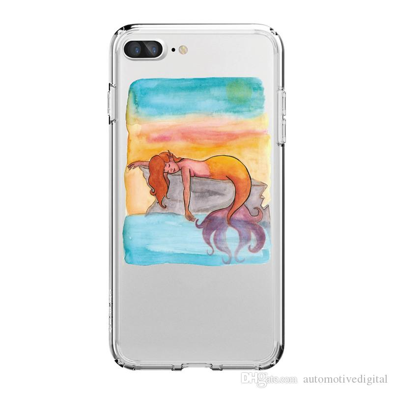 Phone Case For iPhone X 8/7 8PLUS/7PLUS Phone Case Mermaid Dolphin Pet Design Soft Silicon Mobile Phone Bag
