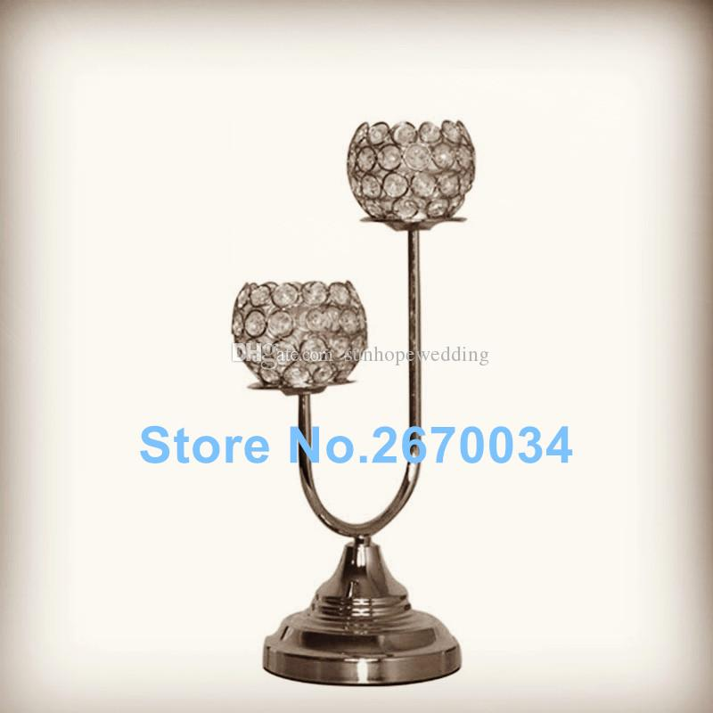 New design crystal candle holder candlestick with diamond glass bead