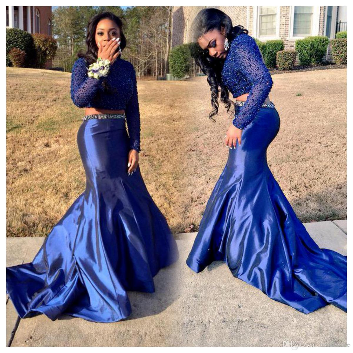 872ab4cbad8 Vintage Blue Two Piece Prom Dresses Crop Top Beaded Plus Size Evening Gowns  With Sleeve Taffeta Fishtail Sexy African Dresses 2018 Online Discount Prom  ...