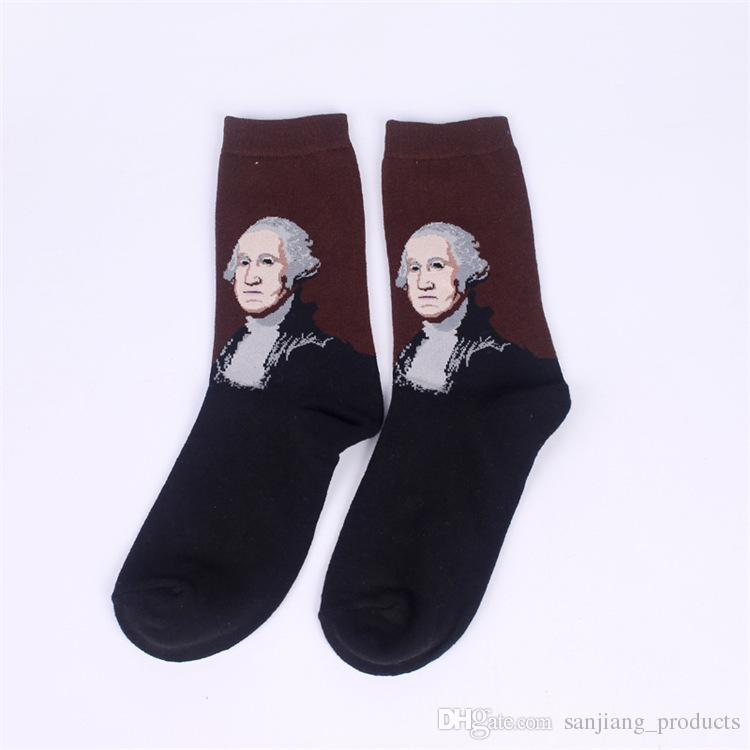 Otoño e invierno Hombres calcetines mundialmente famoso Diseño de pintura al óleo Mona Lisa Art Retro Calcetín Casual Estilo Europeo Medias de algodón envío gratis