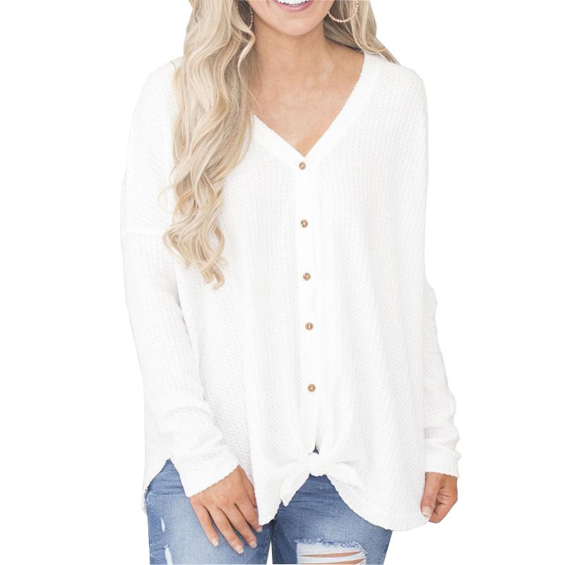 0d8d7c9811 Compre Blusa De Mujer Otoño Casual Camisas Para Damas Sólido Gris Negro  Blanco Manga Larga Mujeres Botón Blusas Sueltas Elegantes De Manga Larga  Tops A ...