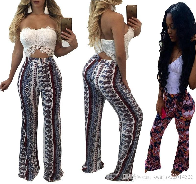 7e1cbef2d3 2019 Women Elastic Boot Cut Trousers Summer Casual High Waist Pants African  Paisley Print Boho Slim Long Flare Wide Leg Pant From Swallow2014520, ...