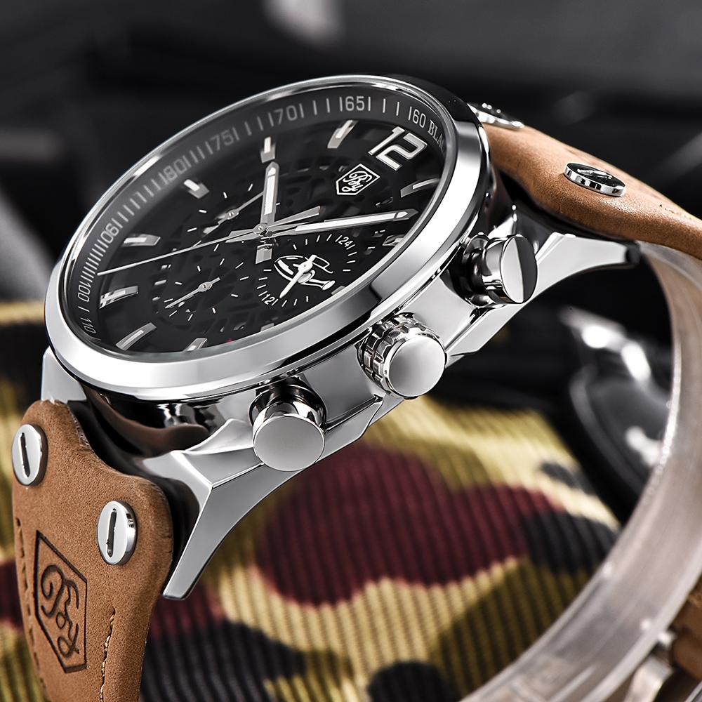 d01ba80fefa BENYAR Fashion Brand Quartz Men Watch Large Dial Chronograph Sport Casual Mens  Watches Leather Male Relogio With Box Online Watch Sales Buy Watch Online  ...