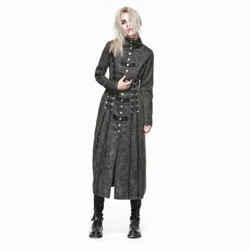 Punk Female Heavy Metal Long Coat Gothic Vintage Women's Windbreakers Washed Leather Spliced Woman Long Sleeves Jackets