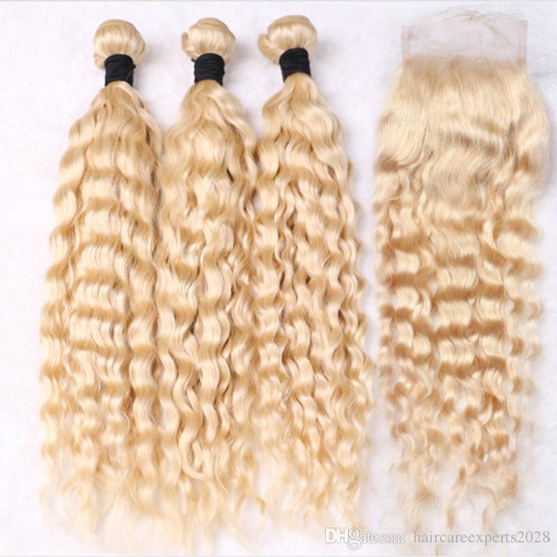ELIBESS SAÇ 613 Bal Sarışın Kıvırcık İnsan Saç Uzantıları 100 g / adet 3 Derin Dalga Demetleri Perulu Bakire Saç Kapatma ile, 4 Adet / grup