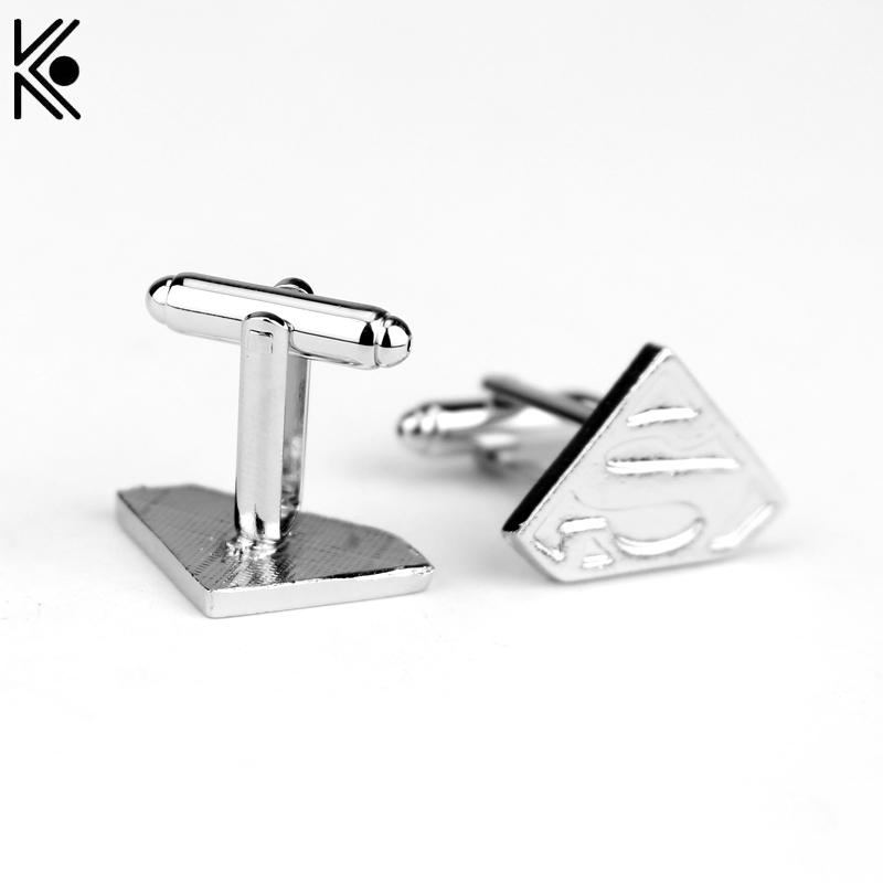 High quality Fashion Superman Style Silver Plated enamel Cuff Links Brand cufflinks button for Men Christmas gift