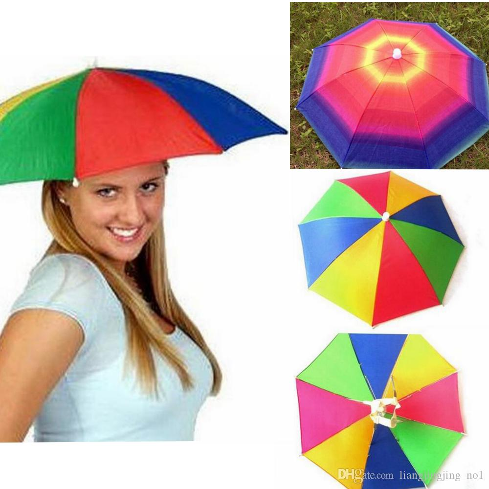 d522b84c6a66b 2019 Foldable Sun Rainbow Umbrella Hat Adjustable Headband Hat Umbrella  Hiking Fishing Outdoor Kit EEA252 From Liangjingjing no1