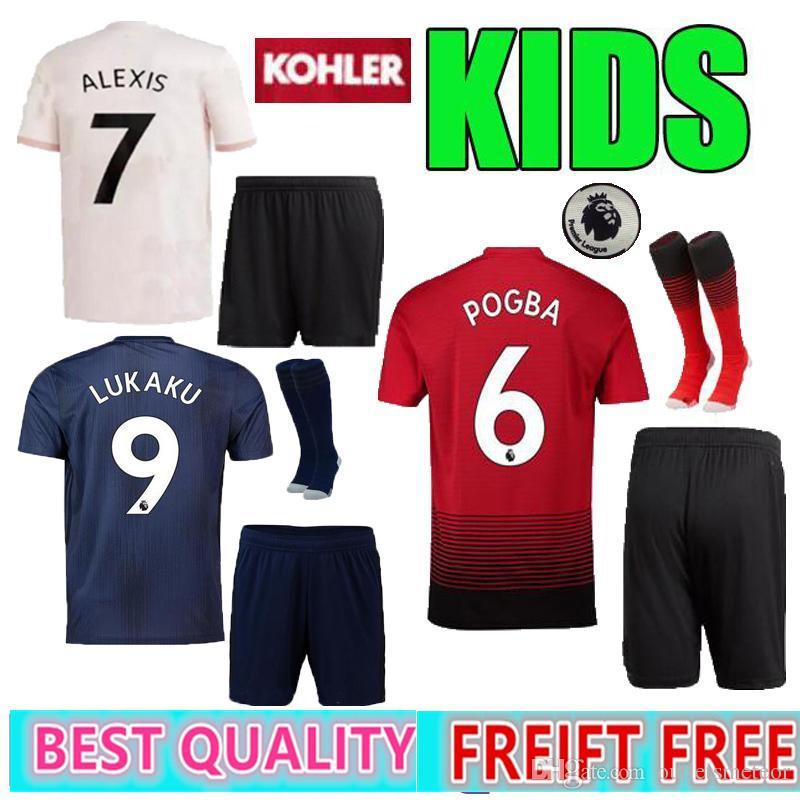 2019 Kids Kit 2018 Manchester United POGBA Alexis Soccer Jersey Lukaku  LINDELOF RASHFORD MKHITARYAN MARTIAL 18 19 Home Away 3rd Football Shirt  From ... 60c657199