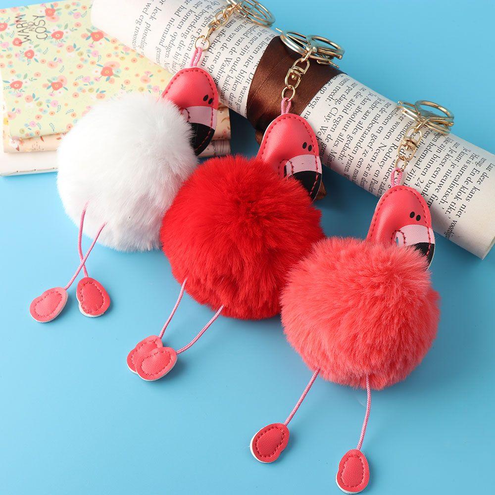 Nouvelle Mode Femmes de Bande Dessinée Flamingo Porte-clés Sac À Main Pendentif Voiture Porte-clés Lapin De Fourrure Bijoux Porte-clés Vente Chaude
