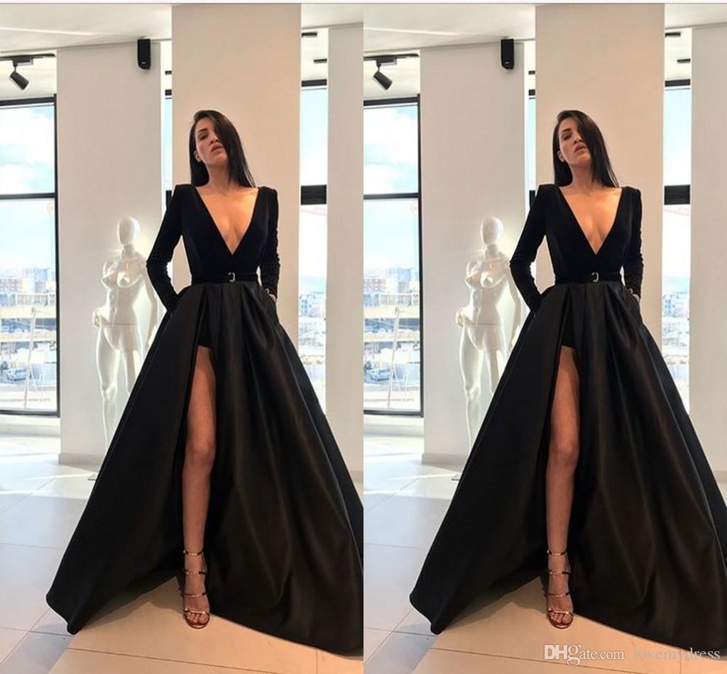 9c42d86a331b Acquista Autunno Inverno Nero Abiti Firmati Abito Formale 2019 Scollo A V  Manica Lunga Alto Raso Vestito Da Promenade Abiti Da Sera Sash Party Dress  Plus ...