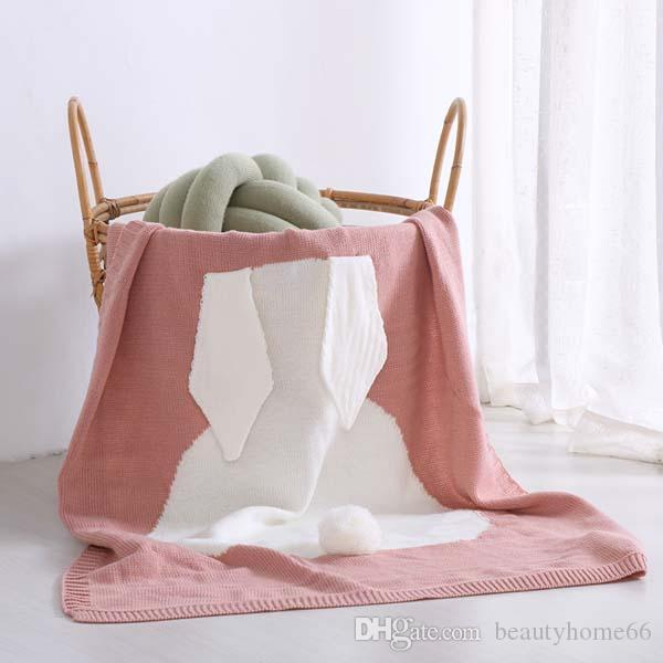Wholesale-70*100cm Baby Blankets INS Rabbit Ear Swaddling Knitted Animal Bedding Toddler Fashion Swaddle Newborn Bunny Blanket