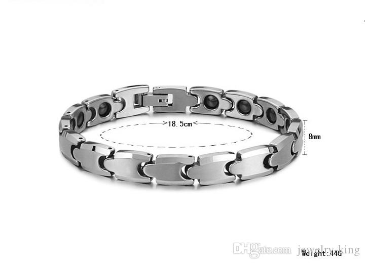Top quality *Brand new men's tungsten bracelets with magnetic stones healthcare beads magnets bracelet fashion accessories jewelries 945