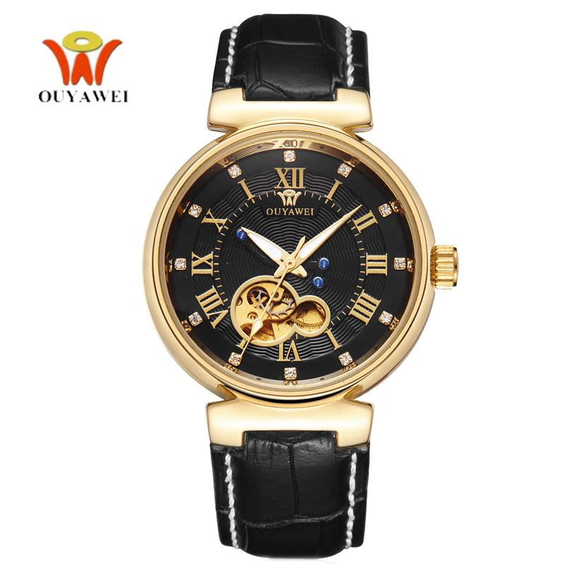 OUYAWEI Golden Mechanic Watch Men Automatic Genuine Leather Mens Luxury Watches Top Brand Fashion Unisex Style montre homme