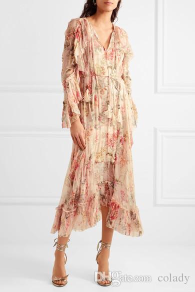 wholesale dealer ab3b0 b9474 Frauen Mercer Floating Blumendruck Seide-Chiffon-Kleid Langarm Rüschen und  Tasseled Shoestring Krawatten Midi-Kleid