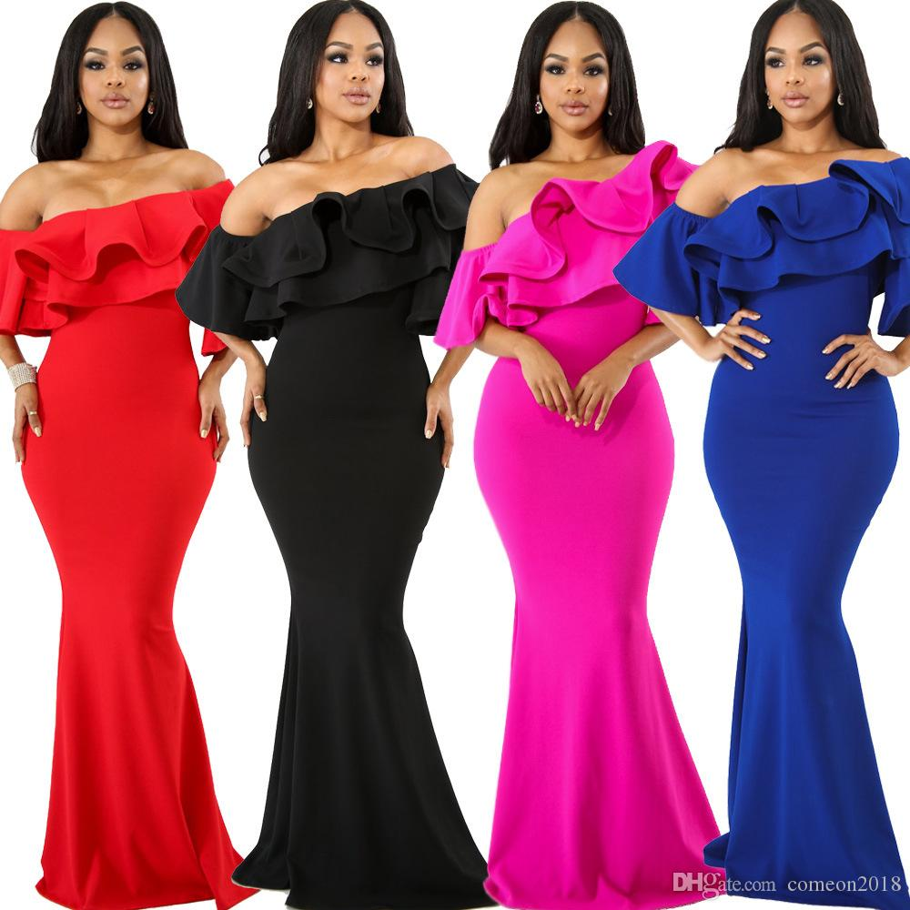7f92805d45 Designer Women Clothes Womens bodycon Long Evening Dress Off Shoulder  Ruffled Strapless Solid Ankle Length Dress Ladies Night Party Vestidos