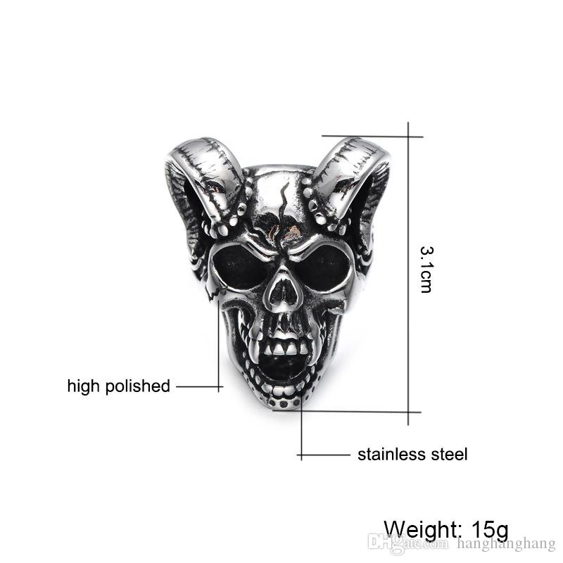 WEC Punk Gothic Casting Evil Damn Vampire Goat Head Bone Ring Titanium Stainless Steel Skull Ring for Men Jewelry