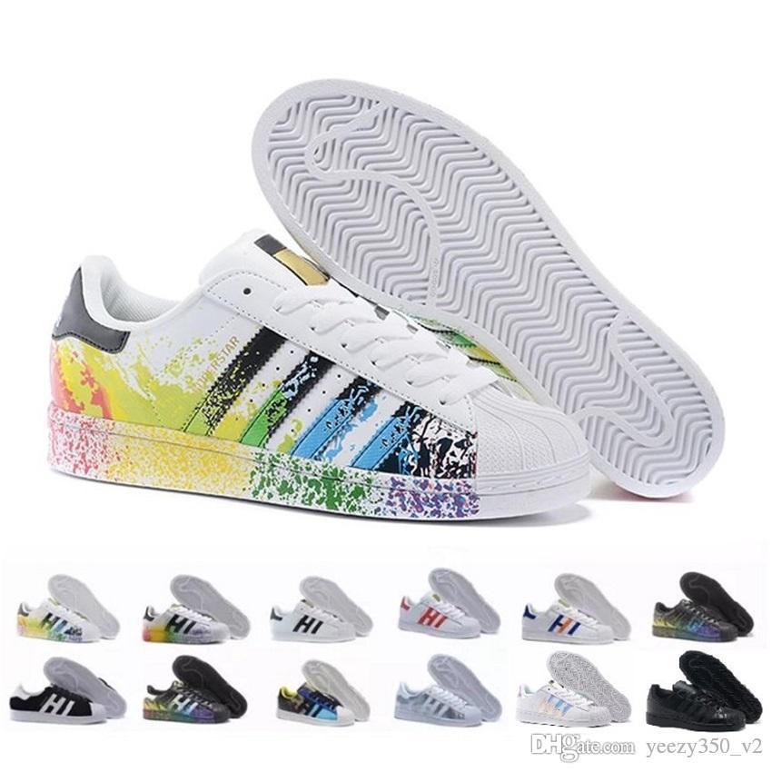 2018 Originals Superstar Blanc Hologramme Irisé Gris Or Superstars Années 80 Fierté Sneakers Super Star Femmes Hommes Sport Casual Chaussures EUR
