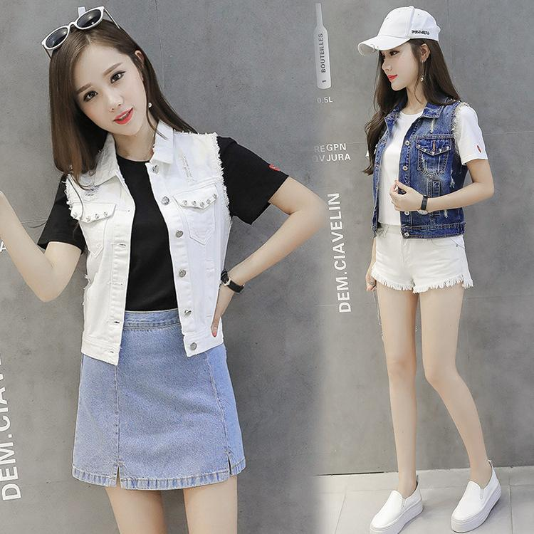 ff982781fb9b 2019 2018 Spring New Pattern Suit Dress Fashion Will Code Self Cultivation  Holes Short Fund Sleeveless Cowboy Vest White Jacket Women Black From  Fenash3, ...