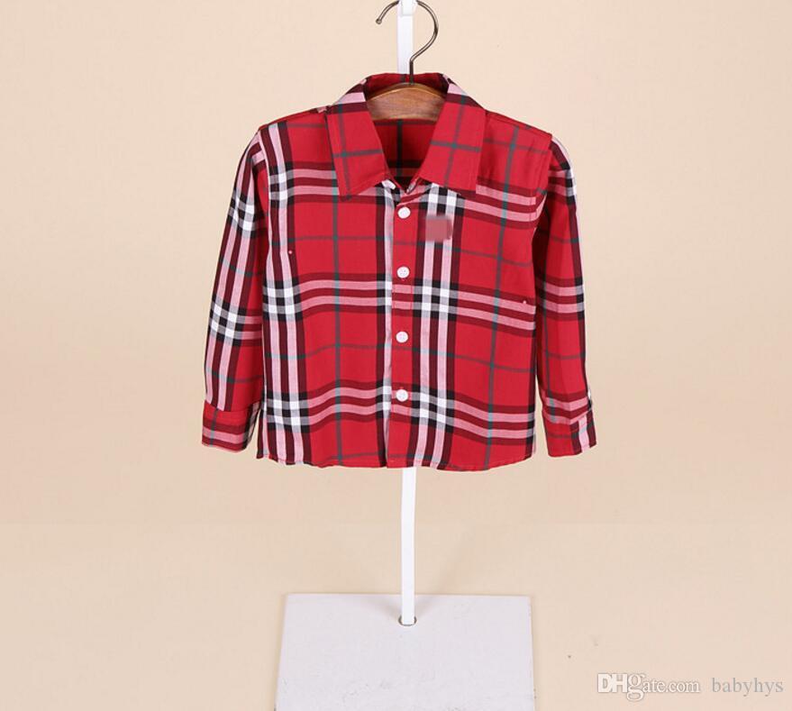 camiseta de manga larga a cuadros al por mayor niño y niñas clásico blanco y negro amarillo rojo clásico clásico primavera / otoño camisas de bebé 5 unids / lote camisa