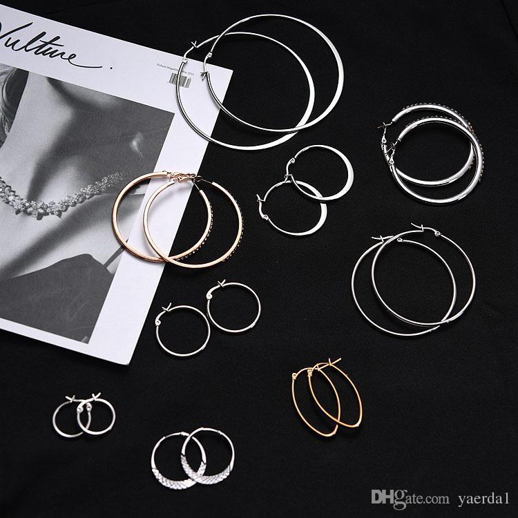 Simple Japanese and Korean styled rhinestones hypoallergenic geometric circle hoop earrings wholesale ladies jewelry manufacturers