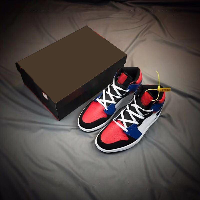 Blanc De Box Hommes High Ball Nouveau Og Baskets Rouge Chaussures 1 Marque Bleu Avec Top Sport Mid 3 Basket Noir dBWrCxeo