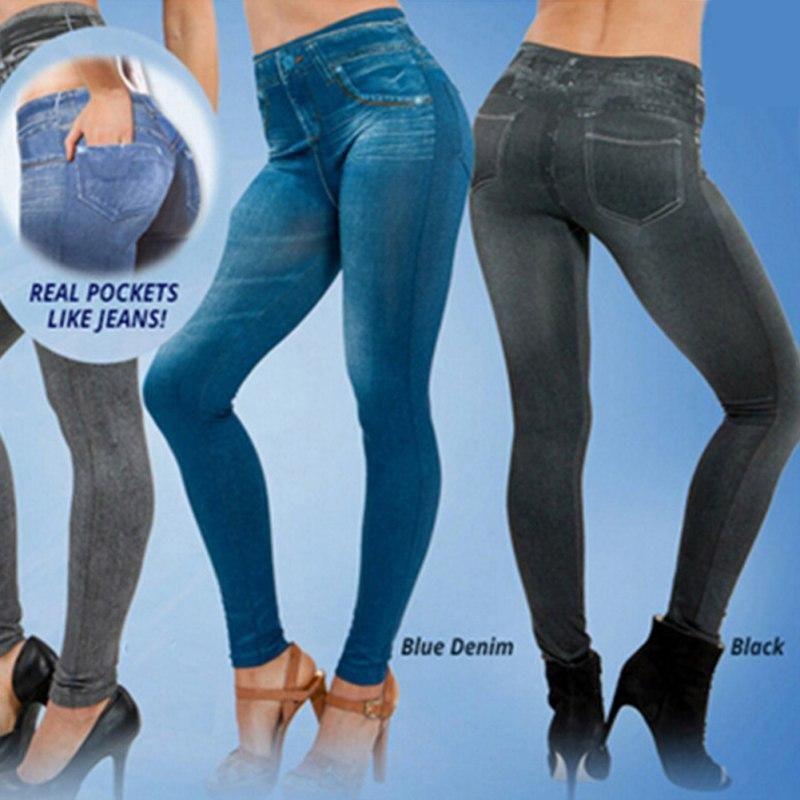 b4e710145b9 2019 Wholesale Women S Leggings Jeans Denim Pants With Pocket Slim Jeggings  Fitness Plus Size Leggings S XXL Black Gray Blue LM93 From Wallne