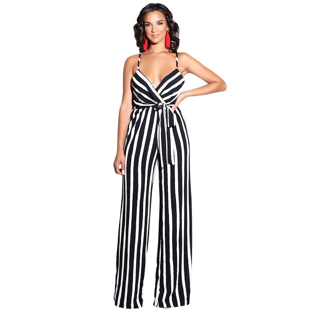 Jumpsuits Delicious Women Jumpsuit Deep V Halter Sleeveless Halter Sexy Elegant Jumpsuits Casual Wide Leg Jumpsuits For Fast Shipping