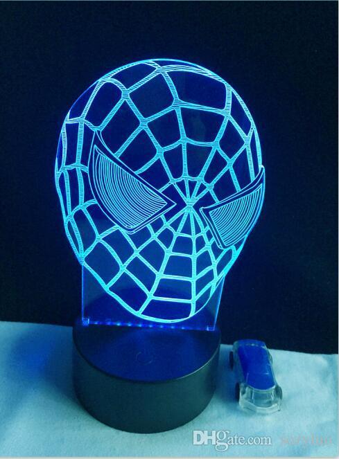 Cool Cartoon Figure Spiderman Mask Face 3D Hero Optical Illusion Mood Light Change Luminaria Lava Lamp Kids Night Light Novelty Gif