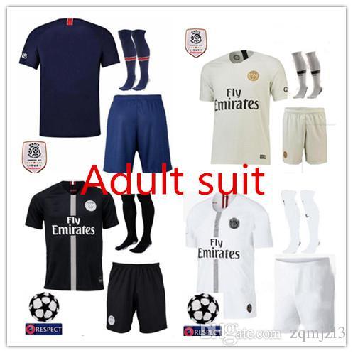 3e526757e Adult Kits+Socks Paris jerseys 2018 MBAPPE CAVANI soccer jersey 18 19 psg  Football Shirts Mens Set camisetas de futboll