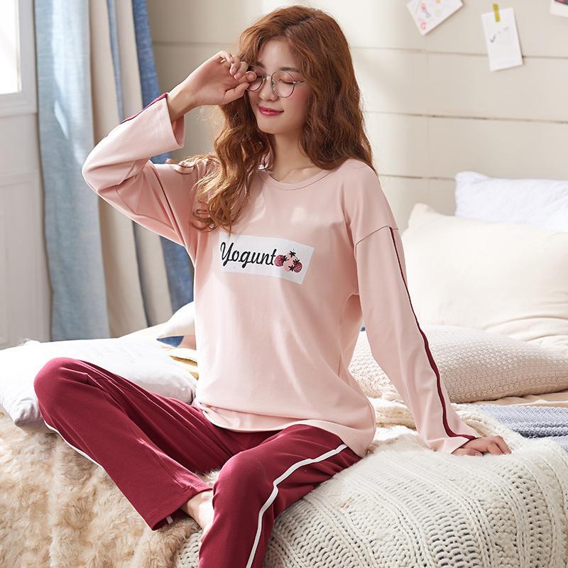 9af959a851 Compre Conjuntos De Pijamas Para Mujer 100% Algodón Camisas Y Pantalones De  Manga Larga Estampado De Dibujos Animados 2019 Conjunto De Pijamas Ropa De  ...