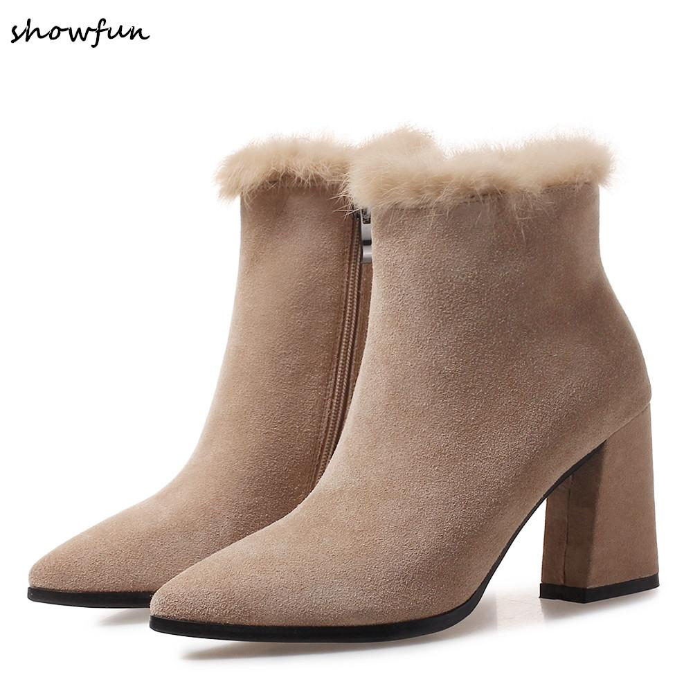 638f1ba875 Women's genuine suede leather rabbit fur ankle boots thick high heel autumn  boots ladies party short booties pointed toe shoes