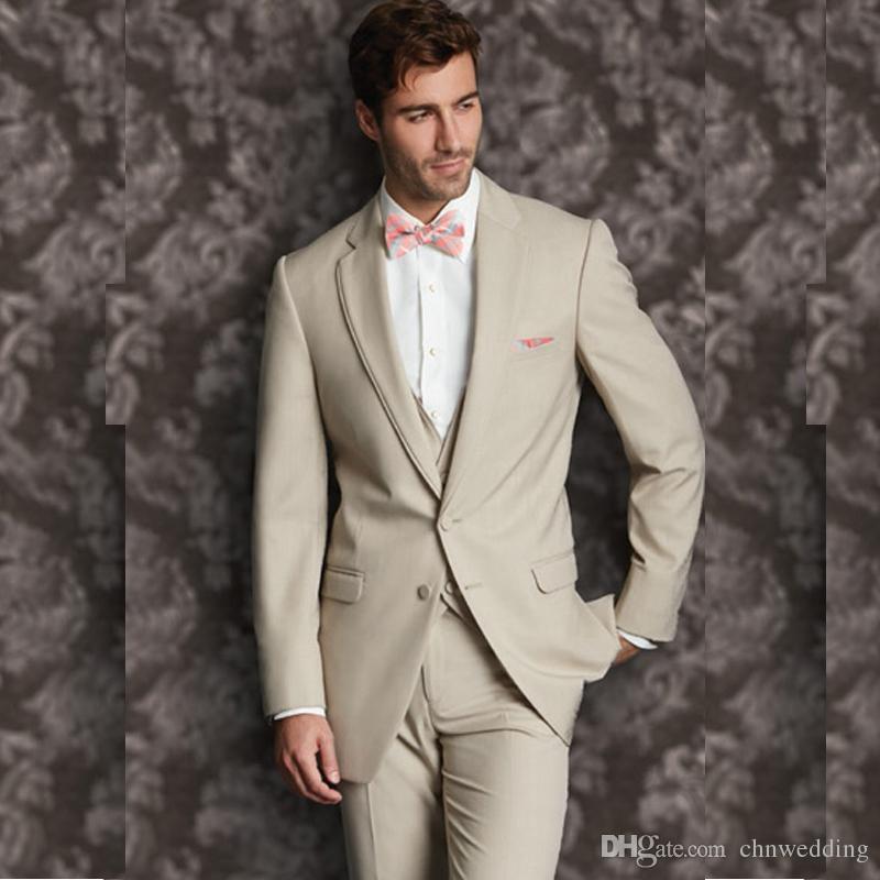 Compre Beige Trajes De Boda Para Hombres 2019 Slim Fit Beige Novio Wear  Tuxedos 3 Piezas Jacket + Pants + Vest Trajes De Novio Best Man Blazer A   101.99 Del ... 993f63f24ba