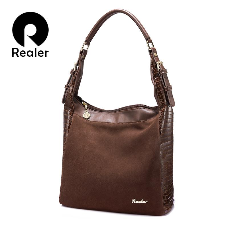 2a329ea09e REALER women nubuck leather handbag female shoulder bag crocodile prints  hobos tote bag brand designer handbag adjustable handle