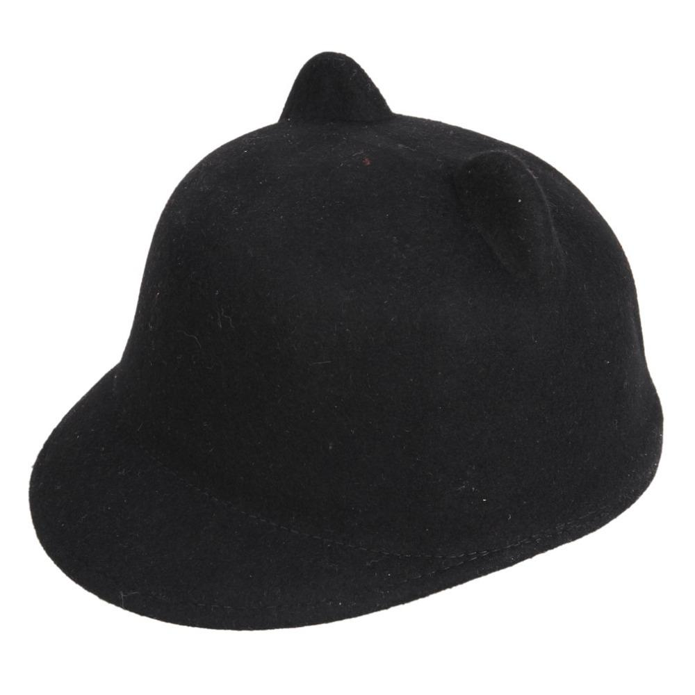 d0074a7c87e 2015 Fashion Winter Wool Women Baseball Hat Lady Snapback With Devil Horns  Cute Cat Ear Hat Animal Bowler Lovely Cap Fitted Caps Black Baseball Cap  From ...